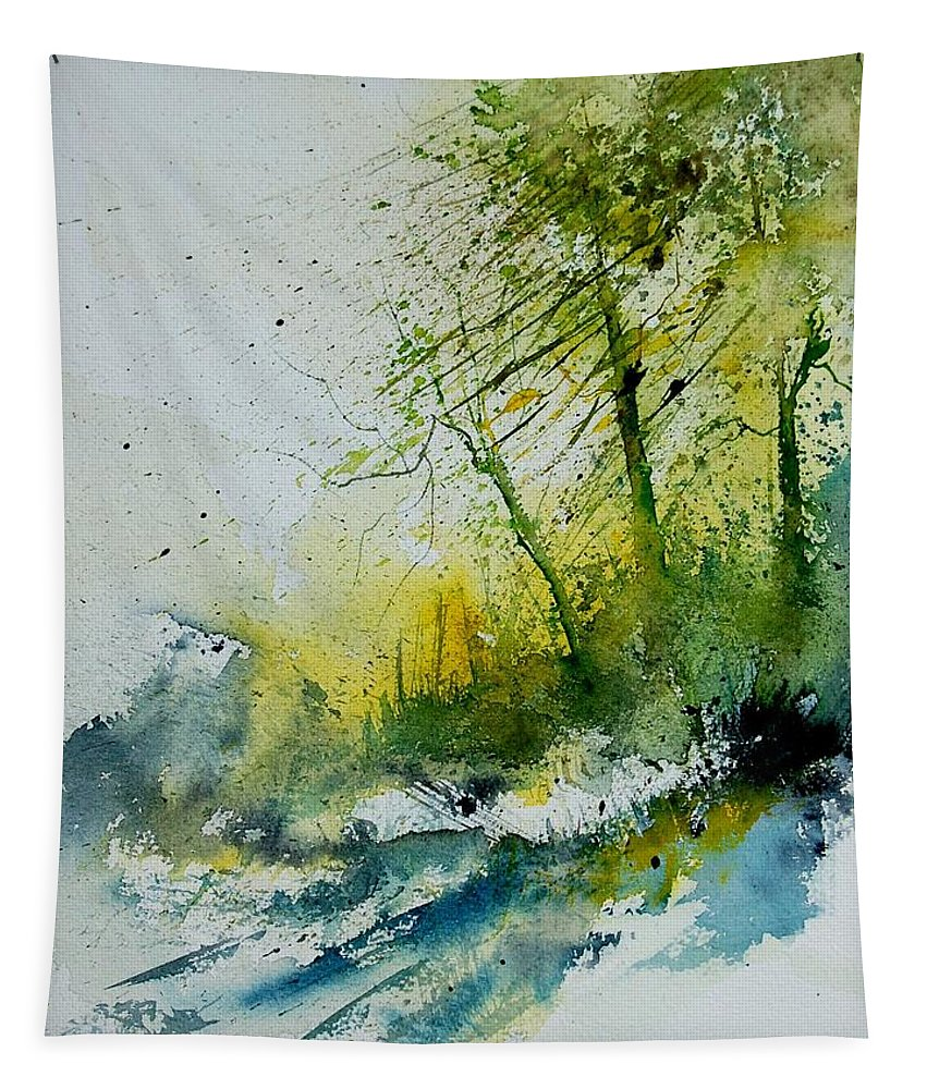 River Tapestry featuring the painting Watercolor 181207 by Pol Ledent