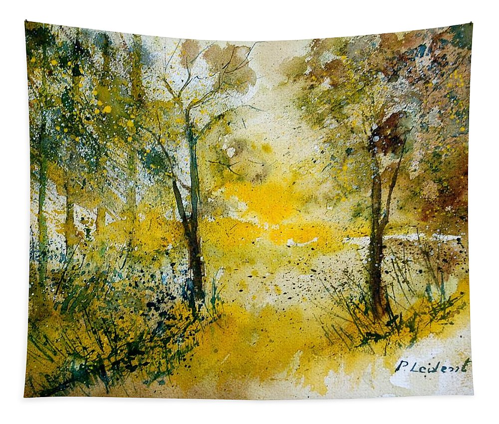 River Tapestry featuring the painting Watercolor 210108 by Pol Ledent