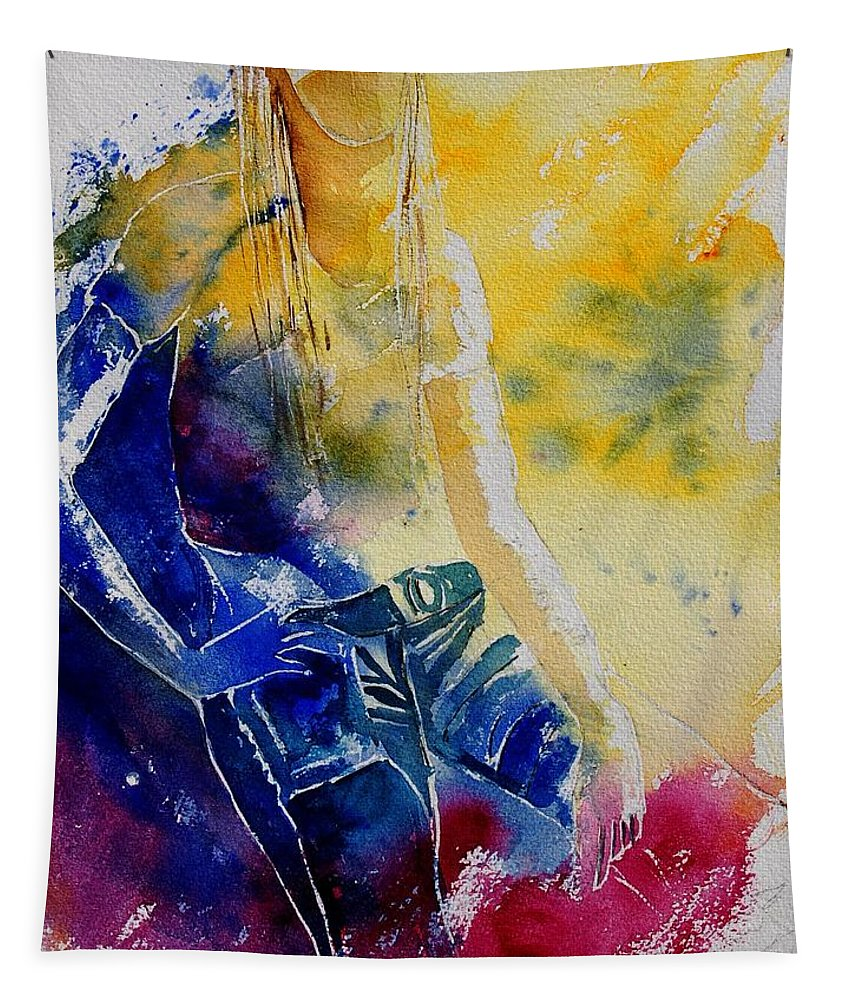 Girl Nude Tapestry featuring the painting Watercolor 21546 by Pol Ledent