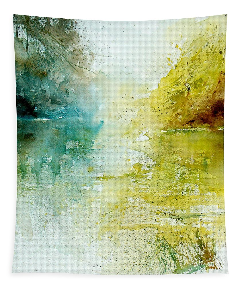 Pond Nature Landscape Tapestry featuring the painting Watercolor 24465 by Pol Ledent