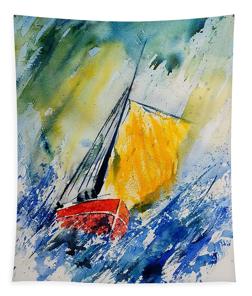 Sea Waves Ocean Boat Sailing Tapestry featuring the painting Watercolor 280308 by Pol Ledent