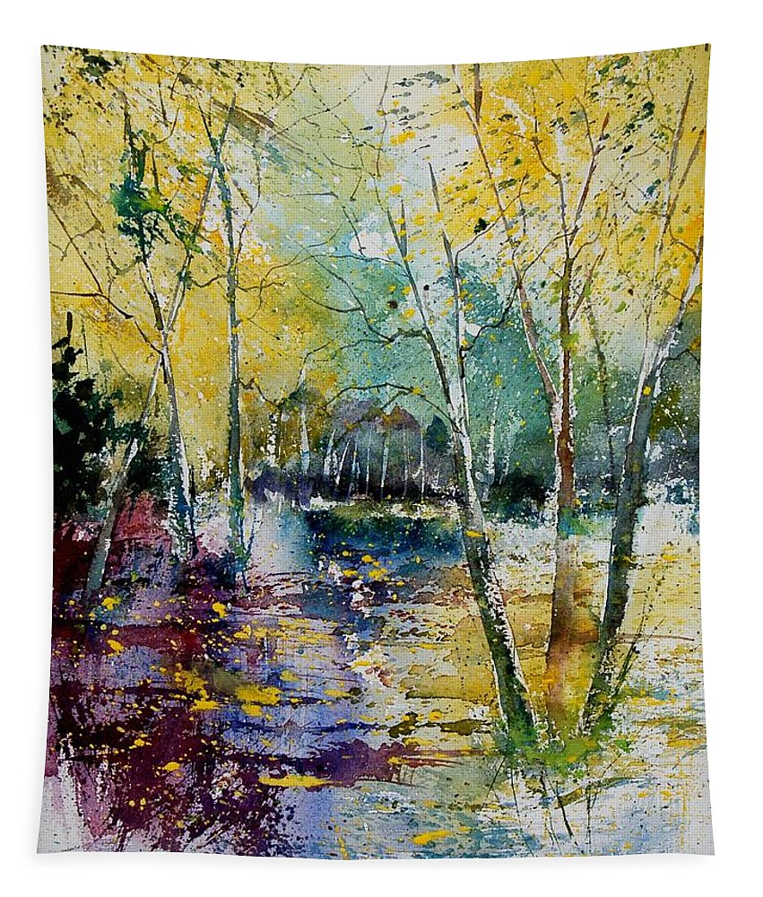 Pond Tapestry featuring the painting Watercolor 280809 by Pol Ledent