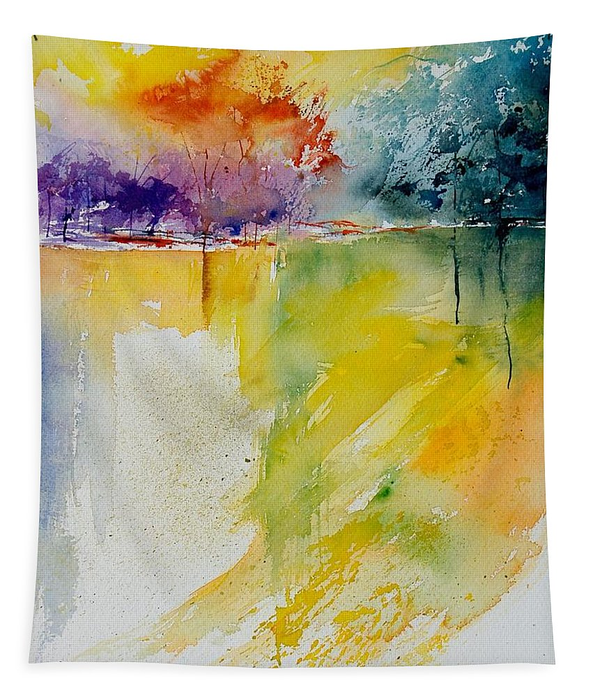 Pond Tapestry featuring the painting Watercolor 800142 by Pol Ledent
