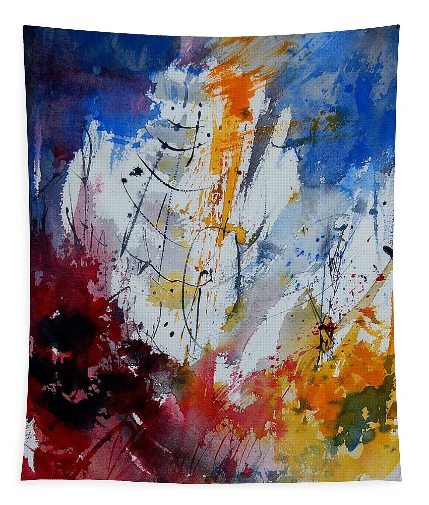 Abstract Tapestry featuring the painting Watercolor 901120 by Pol Ledent