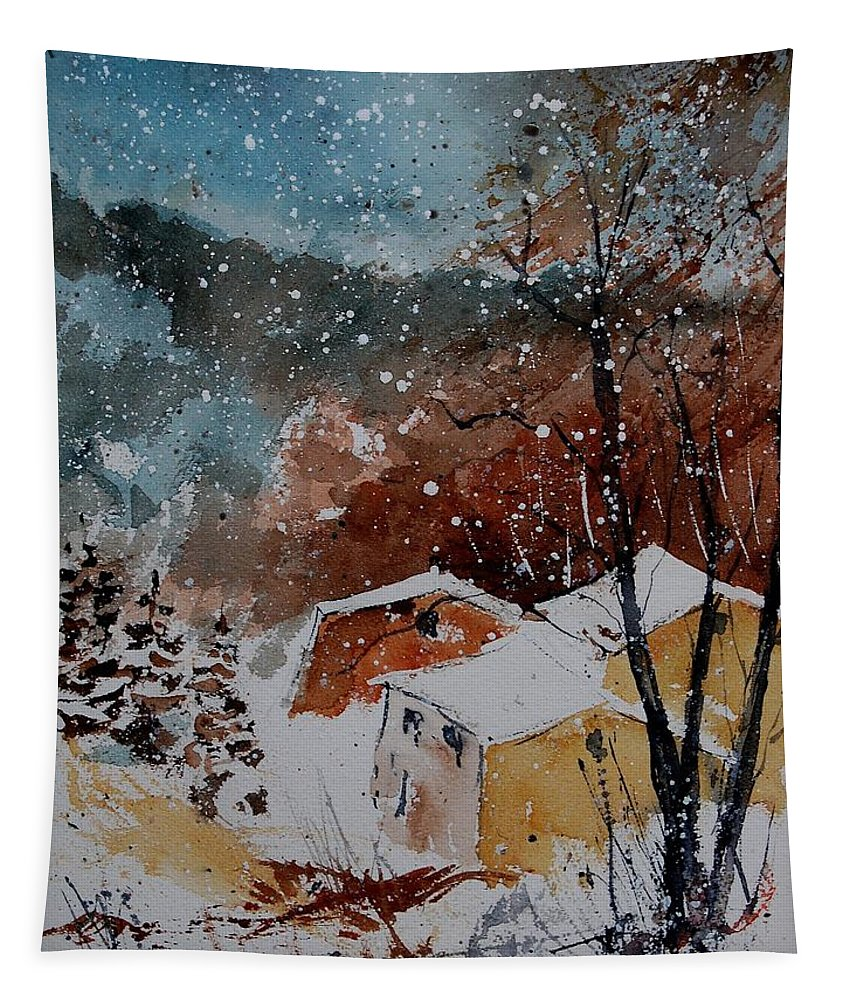 Winter Tapestry featuring the painting Watercolor 902113 by Pol Ledent