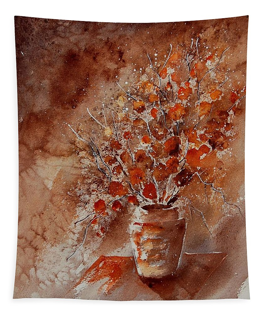 Poppies Tapestry featuring the painting Watercolor Autumn Bunch by Pol Ledent