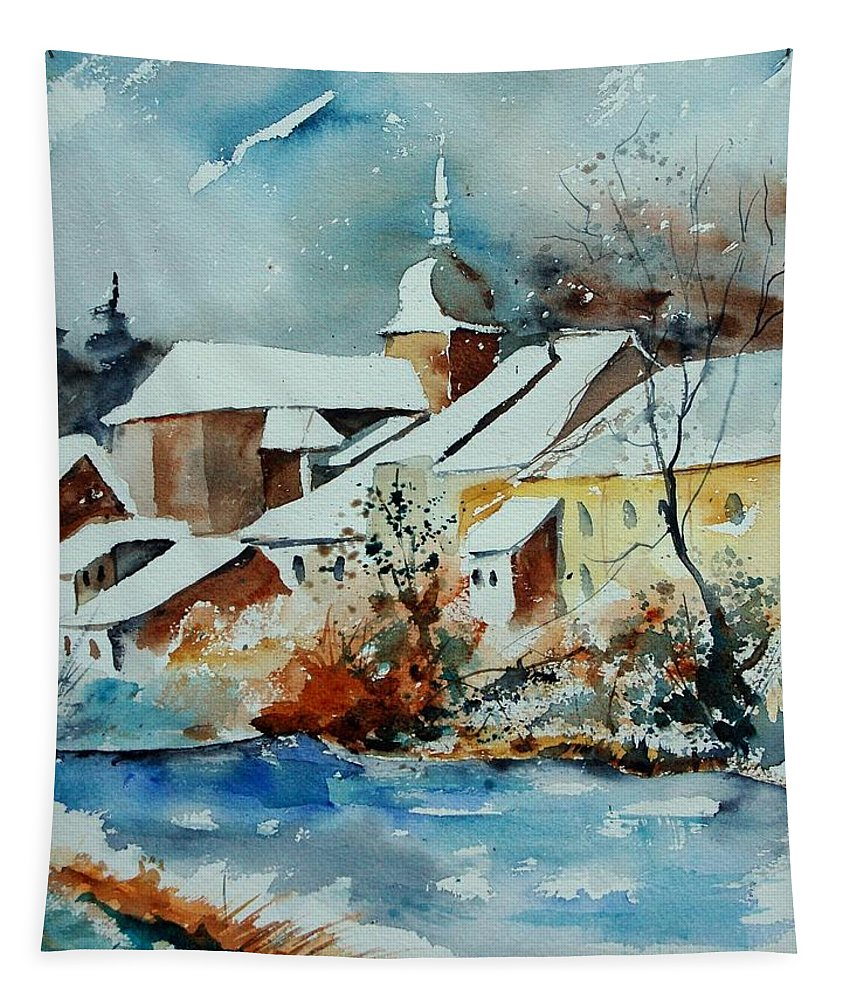 Landscape Tapestry featuring the painting Watercolor Chassepierre by Pol Ledent