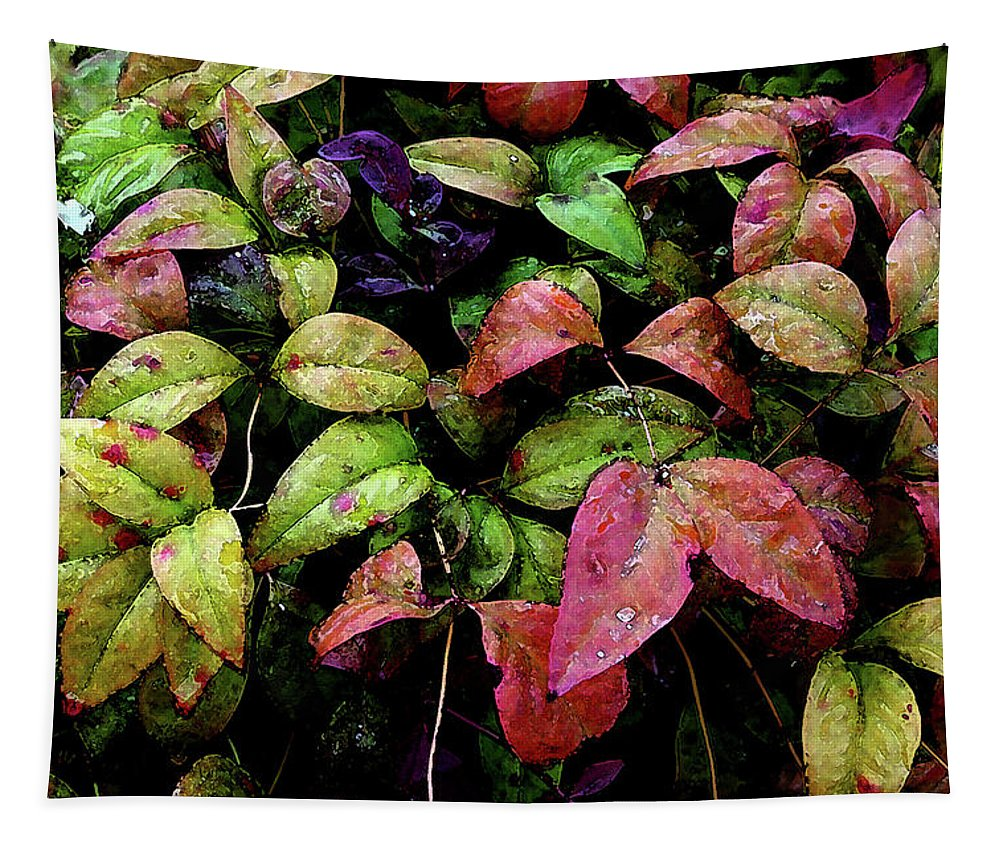 Watercolor Tapestry featuring the photograph Watercolor Colorful Leaves After A Shower 1771 W_2 by Steven Ward