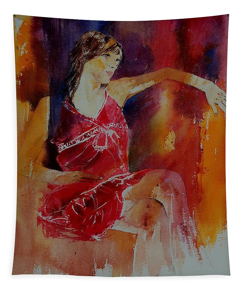 Girl Tapestry featuring the painting Watercolor Eglantine 1 by Pol Ledent