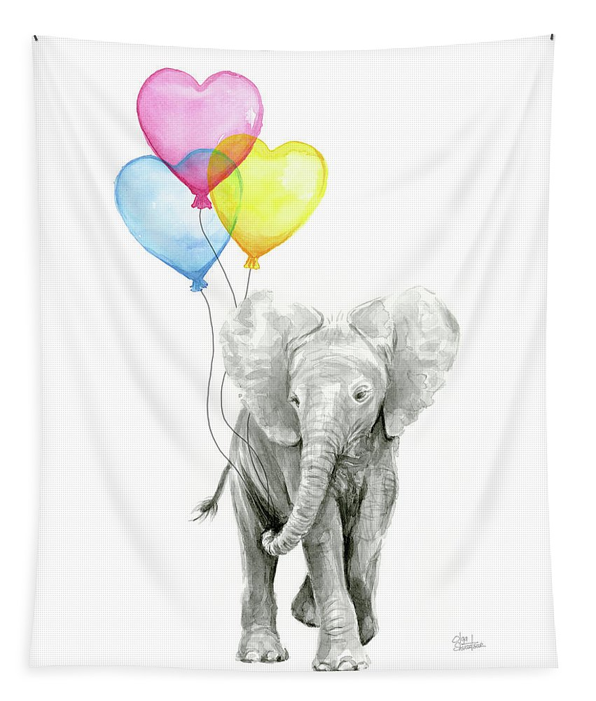 Elephant Tapestry featuring the painting Watercolor Elephant with Heart Shaped Balloons by Olga Shvartsur