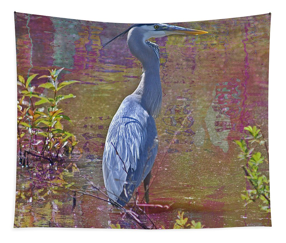 Great Blue Heron Tapestry featuring the photograph Watercolor Heron by Suzanne Stout