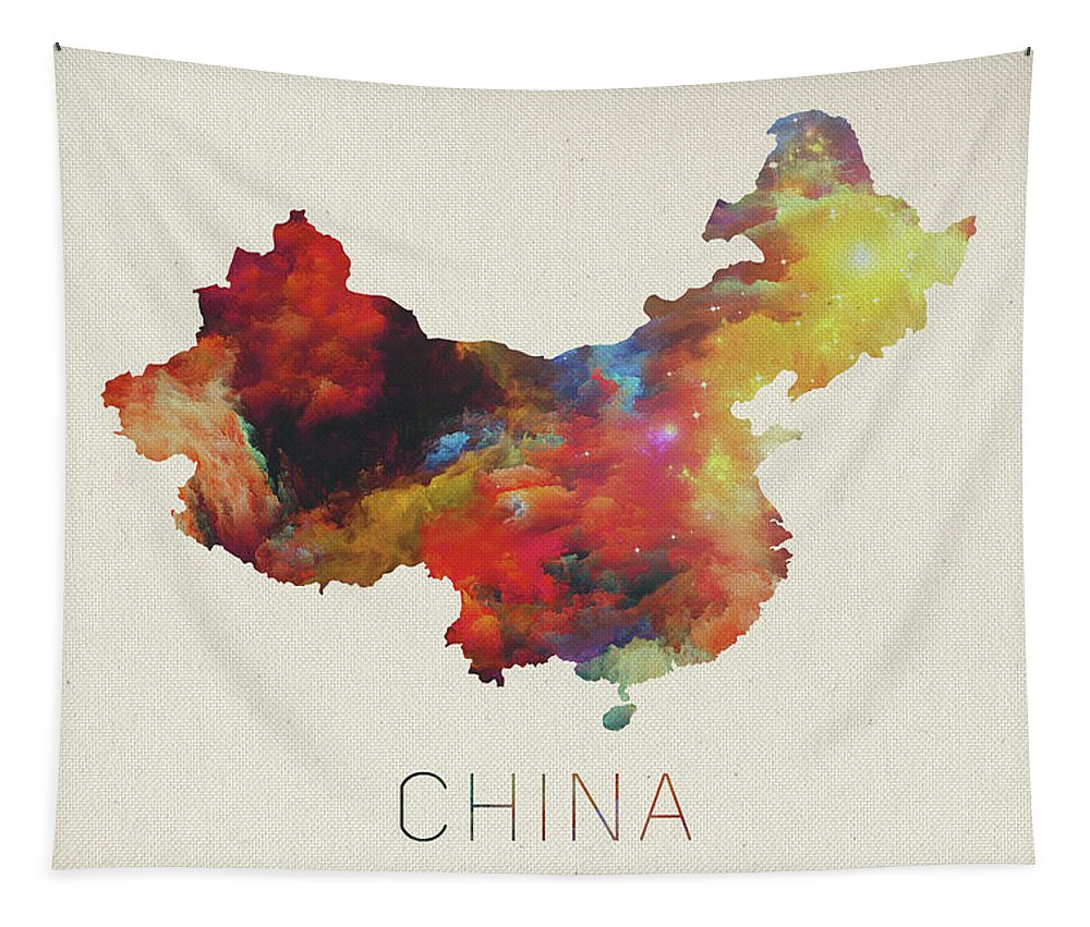 Watercolor Map Of China Tapestry featuring the mixed media Watercolor Map Of China by Design Turnpike