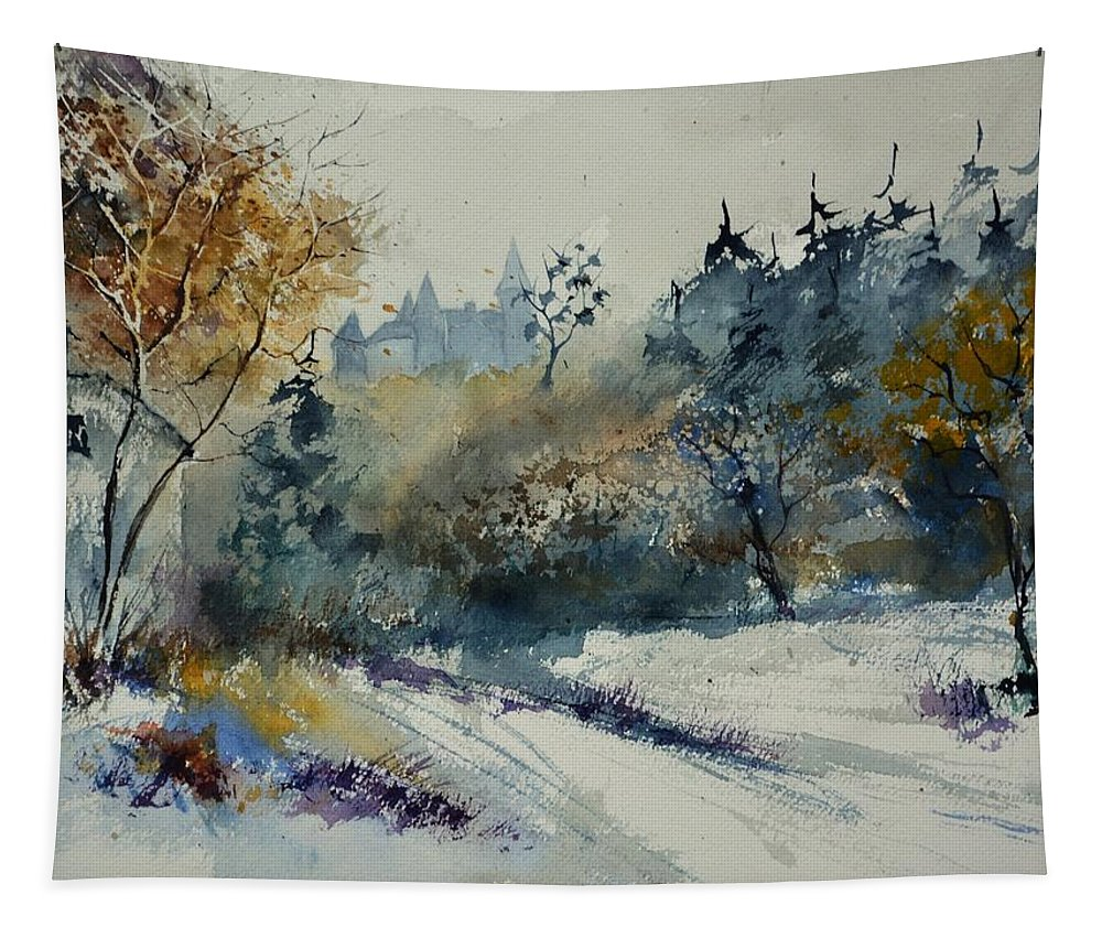 Landscape Tapestry featuring the painting Watercolor Medieval Castle Of Veves by Pol Ledent
