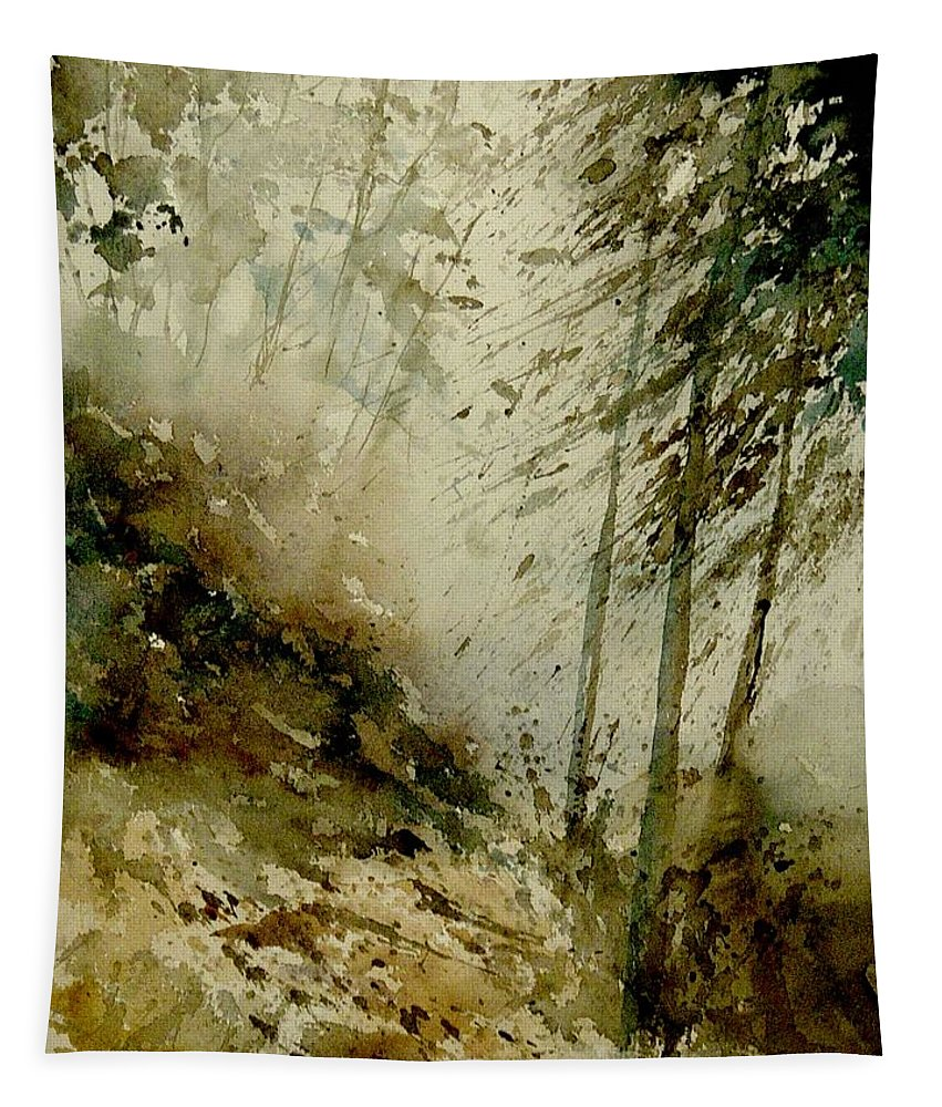 Landscape Tapestry featuring the painting Watercolor Misty Atmosphere by Pol Ledent