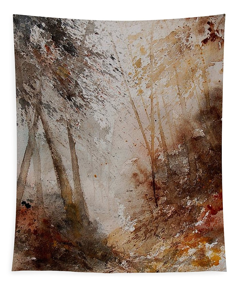 Landscape Tapestry featuring the painting Watercolor Misty Path by Pol Ledent