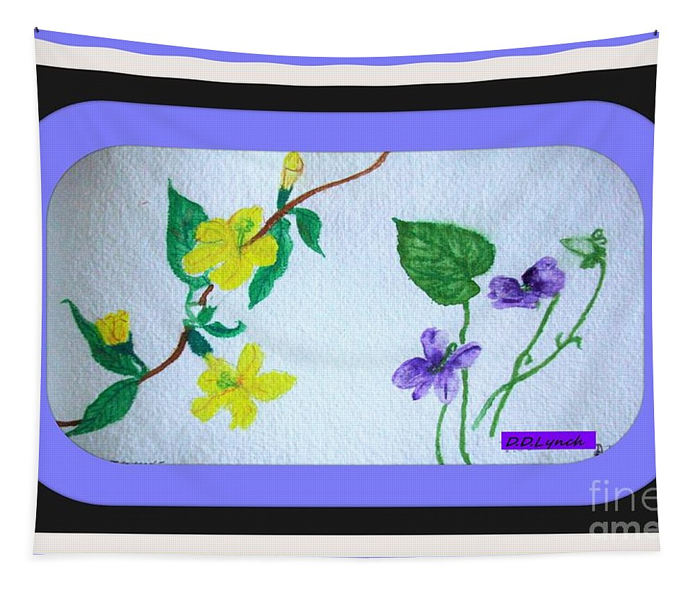 Violet Tapestry featuring the painting Watercolor Of Wild Flowers by Debra Lynch