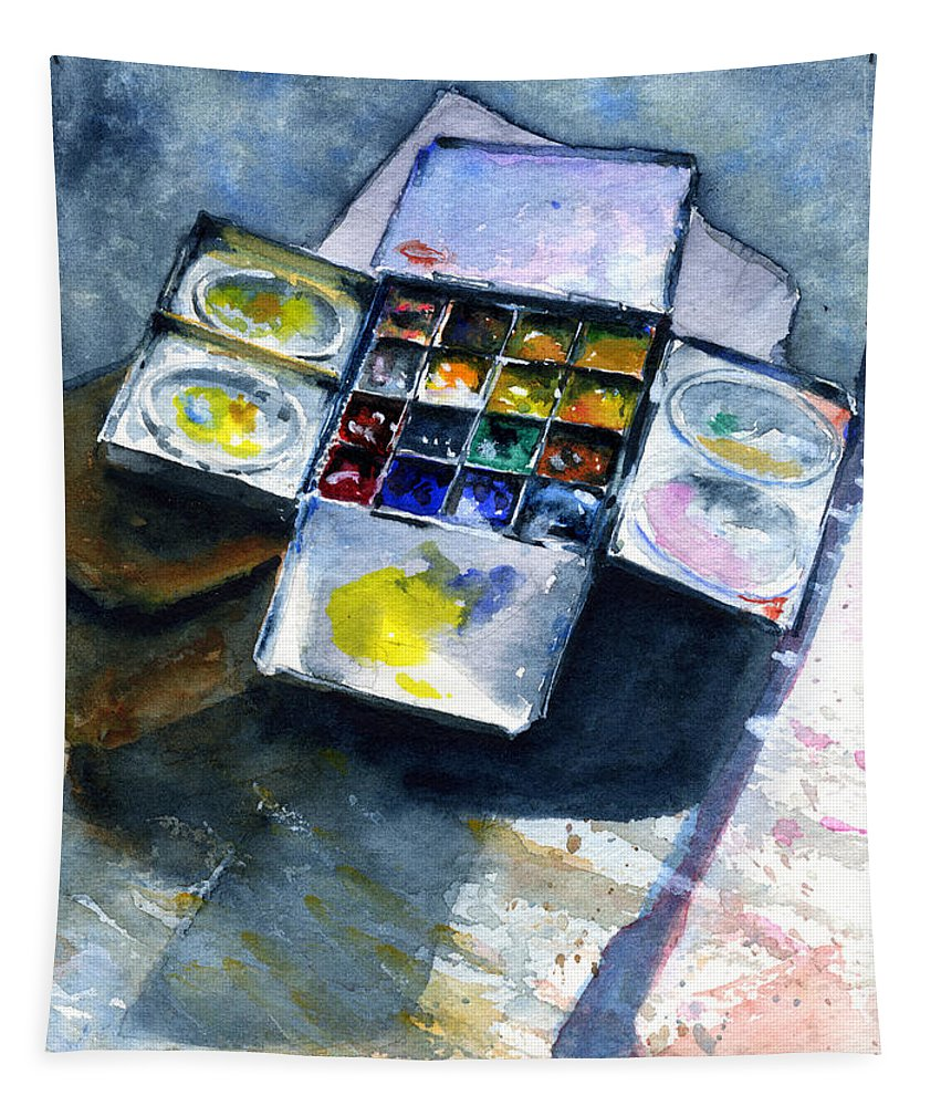 Pallet Tapestry featuring the painting Watercolor Pallet by John D Benson