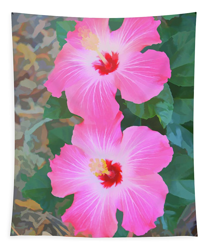 Hibiscus Tapestry featuring the photograph Watercolor Pink Hibiscus Blooms Vertical by Aimee L Maher ALM GALLERY