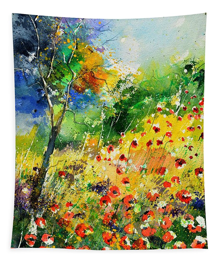 Poppies Tapestry featuring the painting Watercolor poppies 518001 by Pol Ledent