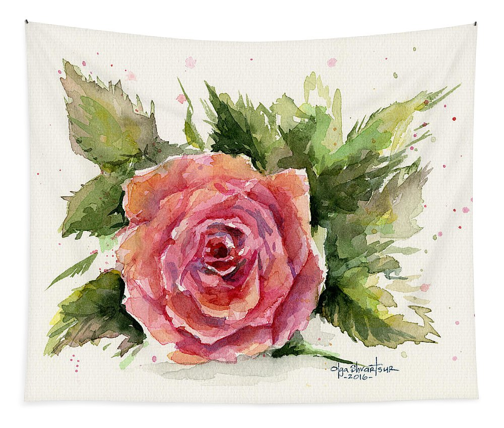 Rose Tapestry featuring the painting Watercolor Rose by Olga Shvartsur