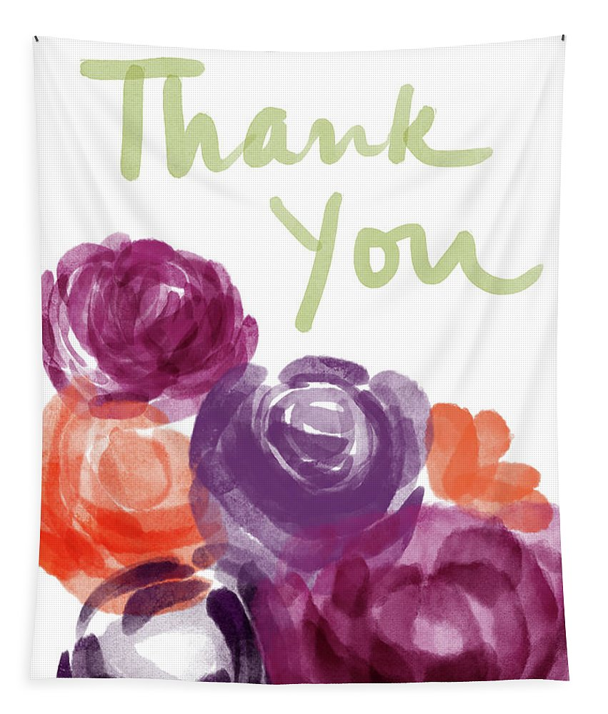 Thank You Tapestry featuring the painting Watercolor Roses Thank You- Art by Linda Woods by Linda Woods