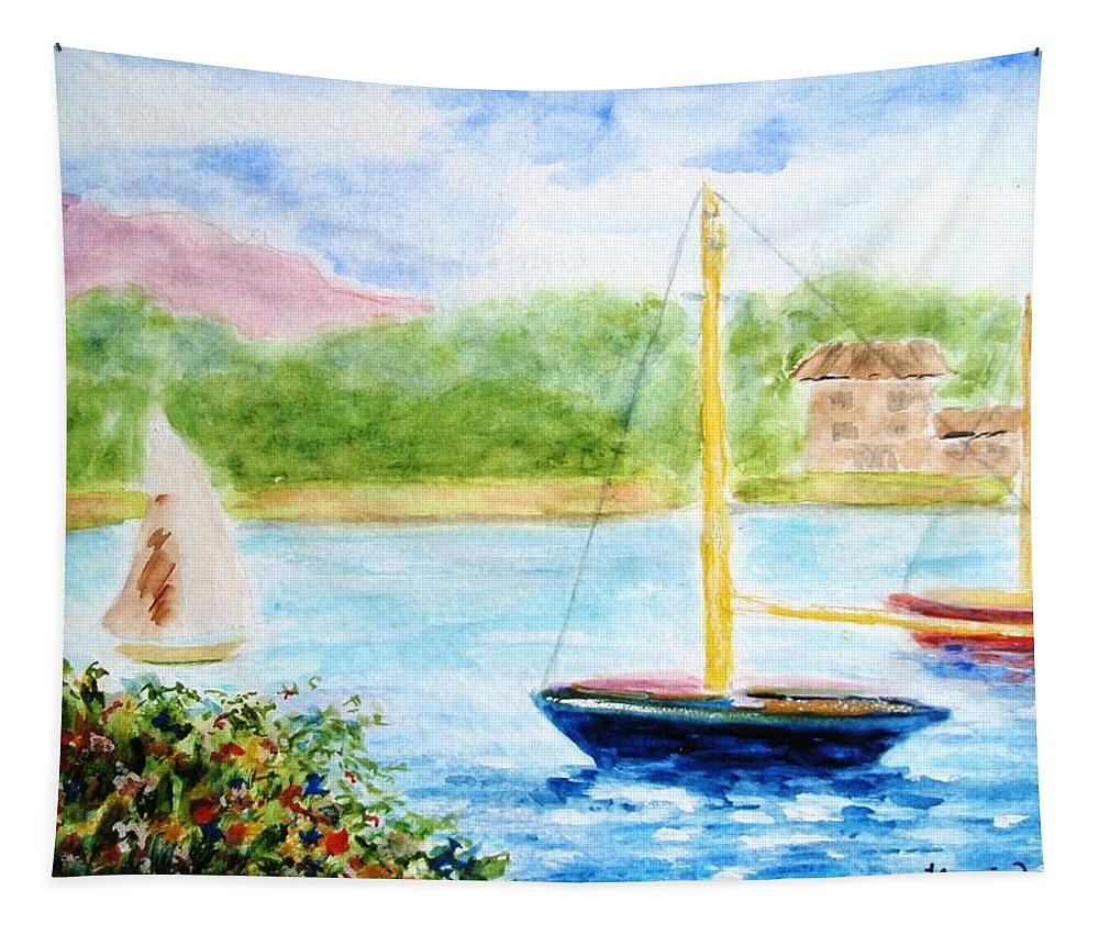 Watercolor Tapestry featuring the painting Watercolor Sail by Jamie Frier