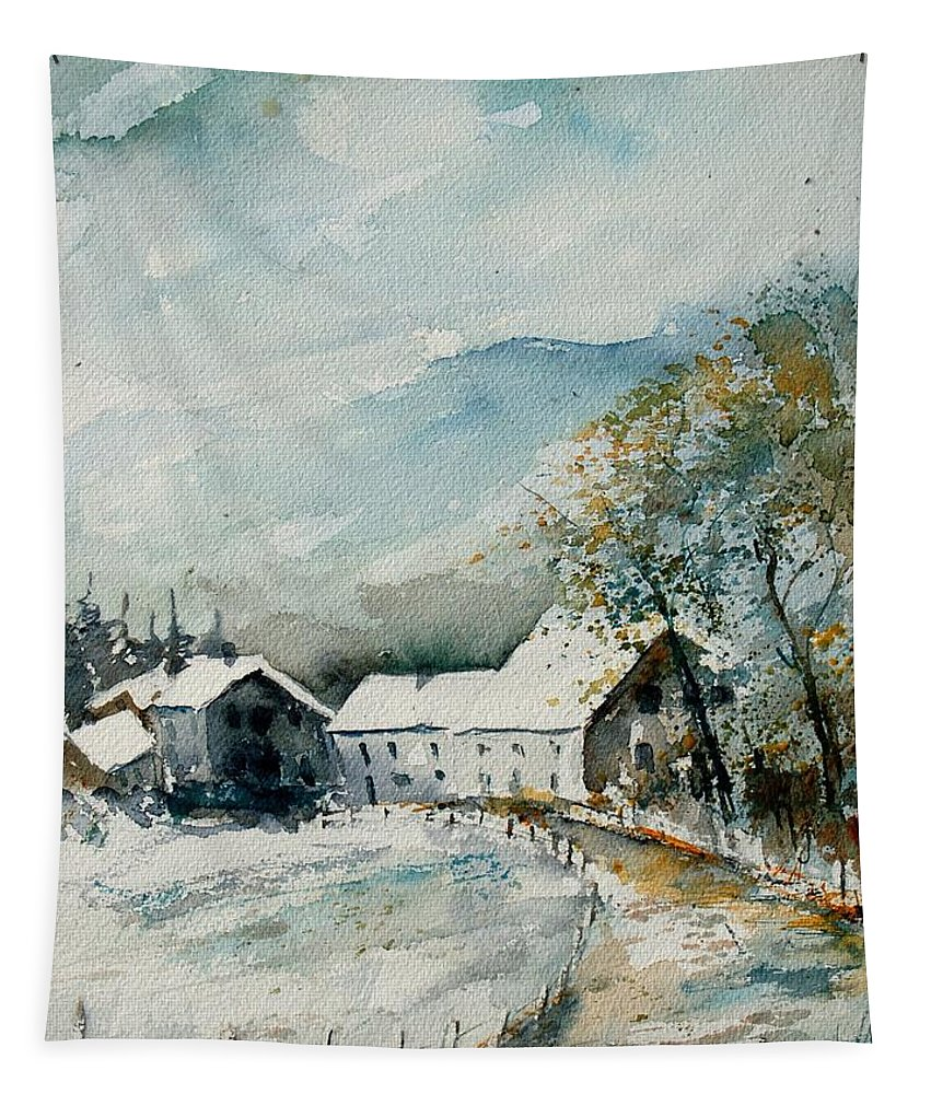 River Tapestry featuring the painting Watercolor Sechery 1207 by Pol Ledent