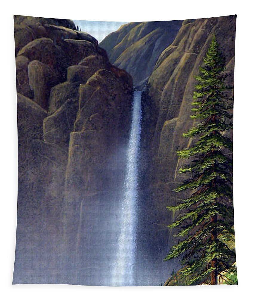 Wilderness Tapestry featuring the painting Waterfall by Frank Wilson