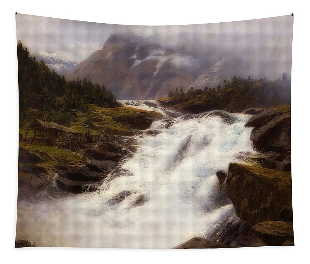 Painting Tapestry featuring the painting Waterfall In Norweigian Mountain Landscape by Themistokles von Eckenbrecher