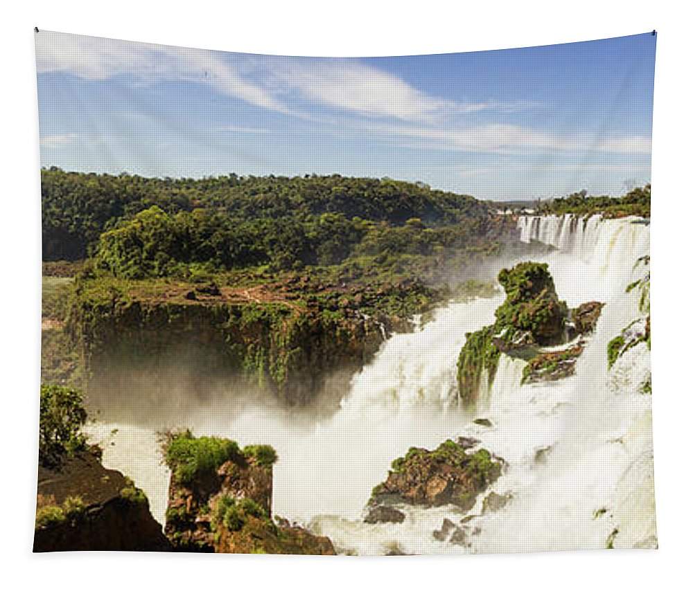 Nature Tapestry featuring the photograph Waterfalls On Iguazu River by Mirko Chianucci