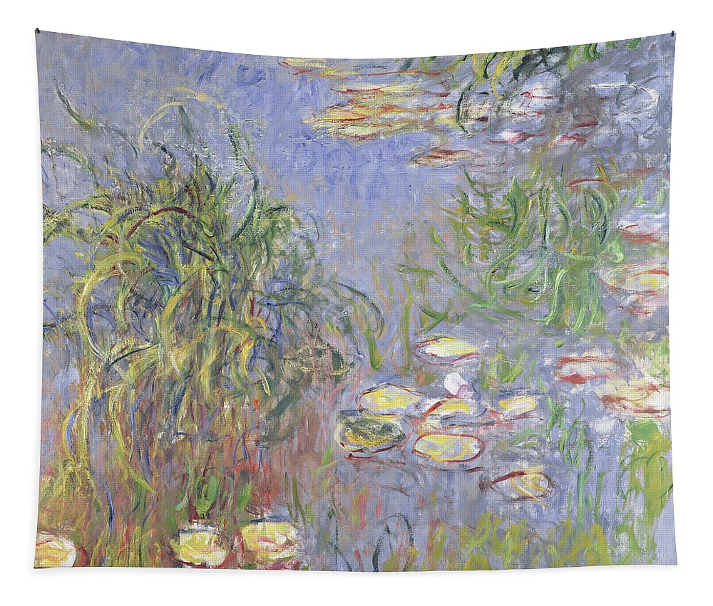 Monet Tapestry featuring the painting Waterlilies, Cluster Of Grass by Claude Monet