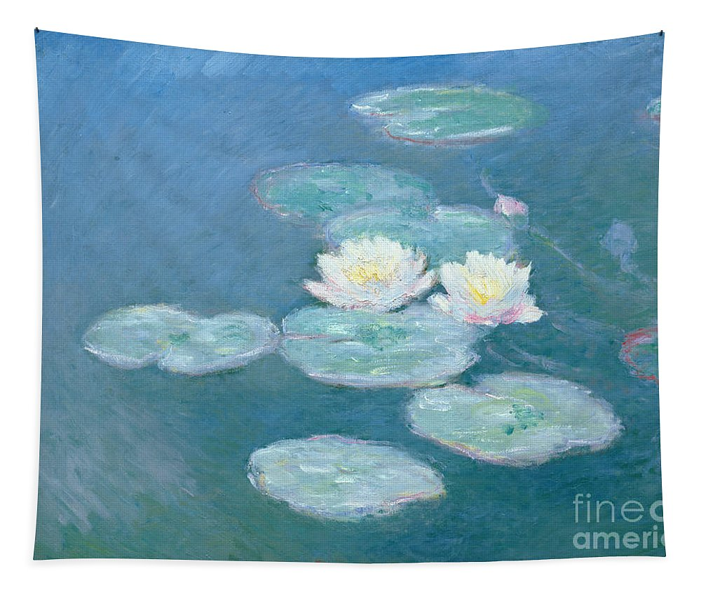 Waterlilies Tapestry featuring the painting Waterlilies Evening by Claude Monet