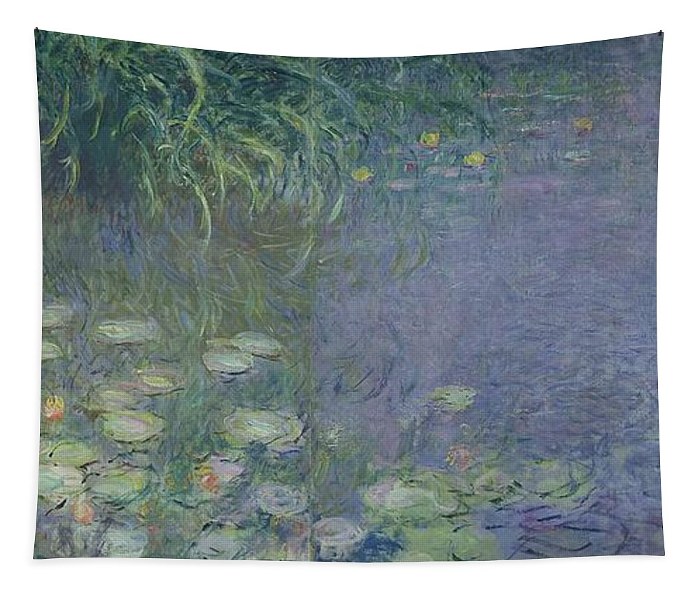 Impressionist;nympheas;matin;quadriptych;water;lily;lilies;waterlily Tapestry featuring the painting Waterlilies Morning by Claude Monet