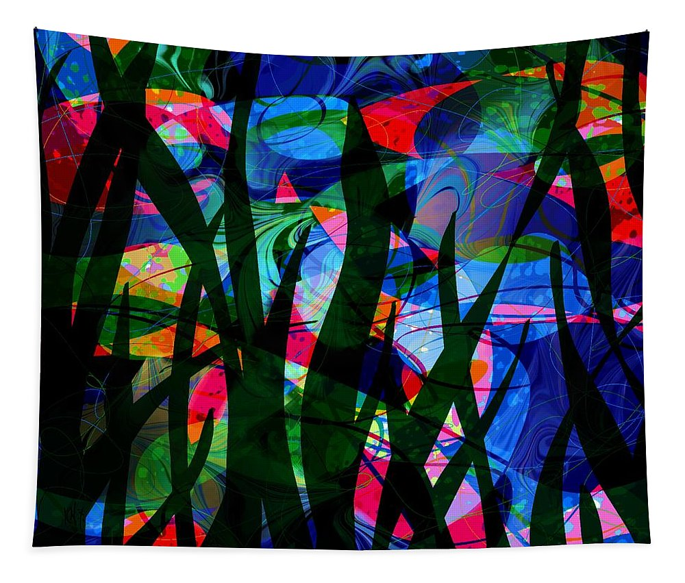 Abstract Tapestry featuring the digital art Watermelon and a Swim by William Russell Nowicki