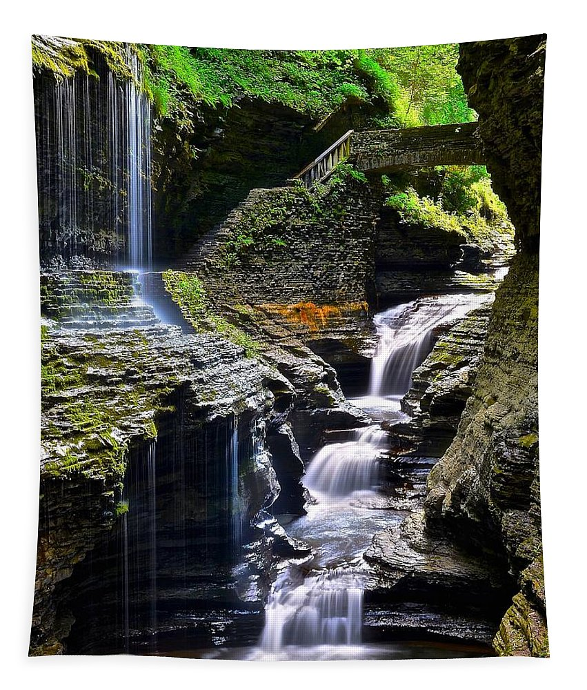 Watkins Tapestry featuring the photograph Watkins Glen Rainbow Falls by Frozen in Time Fine Art Photography