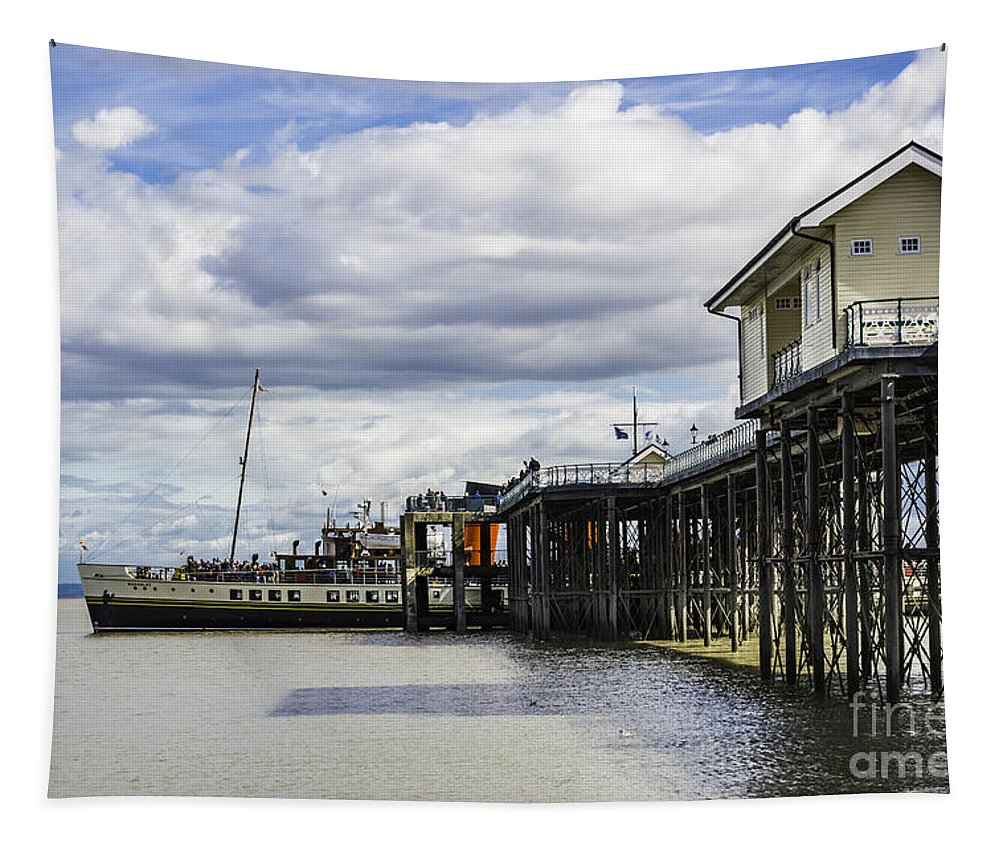 The Waverley Paddle Steamer Tapestry featuring the photograph Waverley At Penarth by Steve Purnell