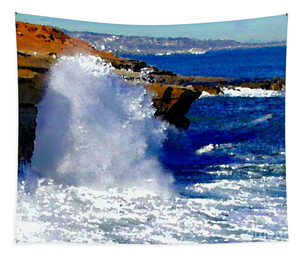 Waves Crashing On The Rocks Tapestry featuring the painting Waves Crashing On The Rocks by R Muirhead Art