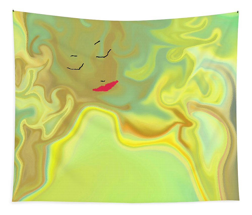 Tapestry featuring the digital art Wavy Hair And Red Lips by Ruth Palmer