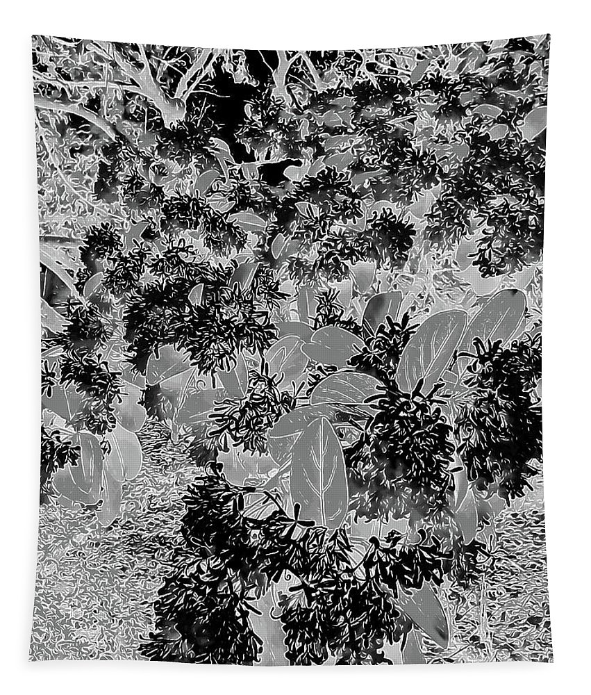 Photography Tapestry featuring the digital art Waxleaf Privet Blooms On A Sunny Day In Black And White - Color Invert by Marian Bell
