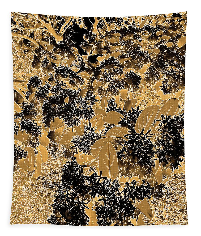 Photography Tapestry featuring the digital art Waxleaf Privet Blooms On A Sunny Day In Black And White - Color Invert With Golden Tones by Marian Bell