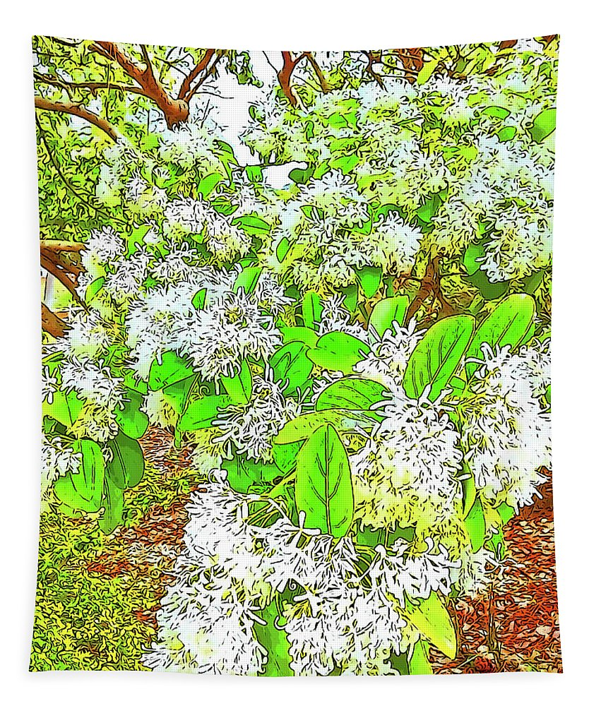 Photography Tapestry featuring the digital art Waxleaf Privet Blooms On A Sunny Day by Marian Bell