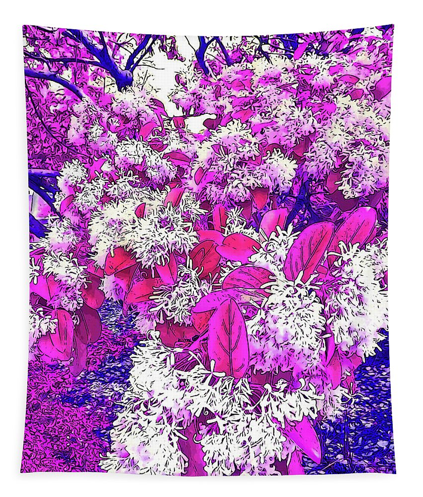 Photography Tapestry featuring the digital art Waxleaf Privet Blooms On A Sunny Day With Magenta Hue by Marian Bell