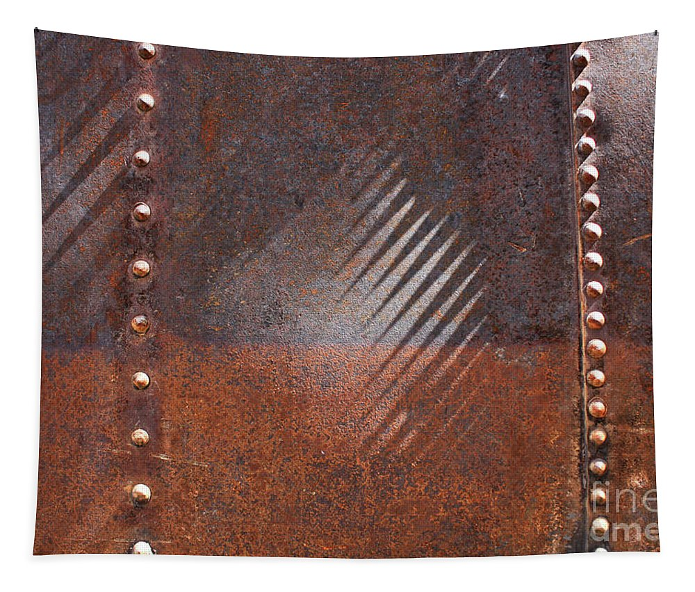 Rust Tapestry featuring the photograph Weathered Metal Rivets by Carol Groenen
