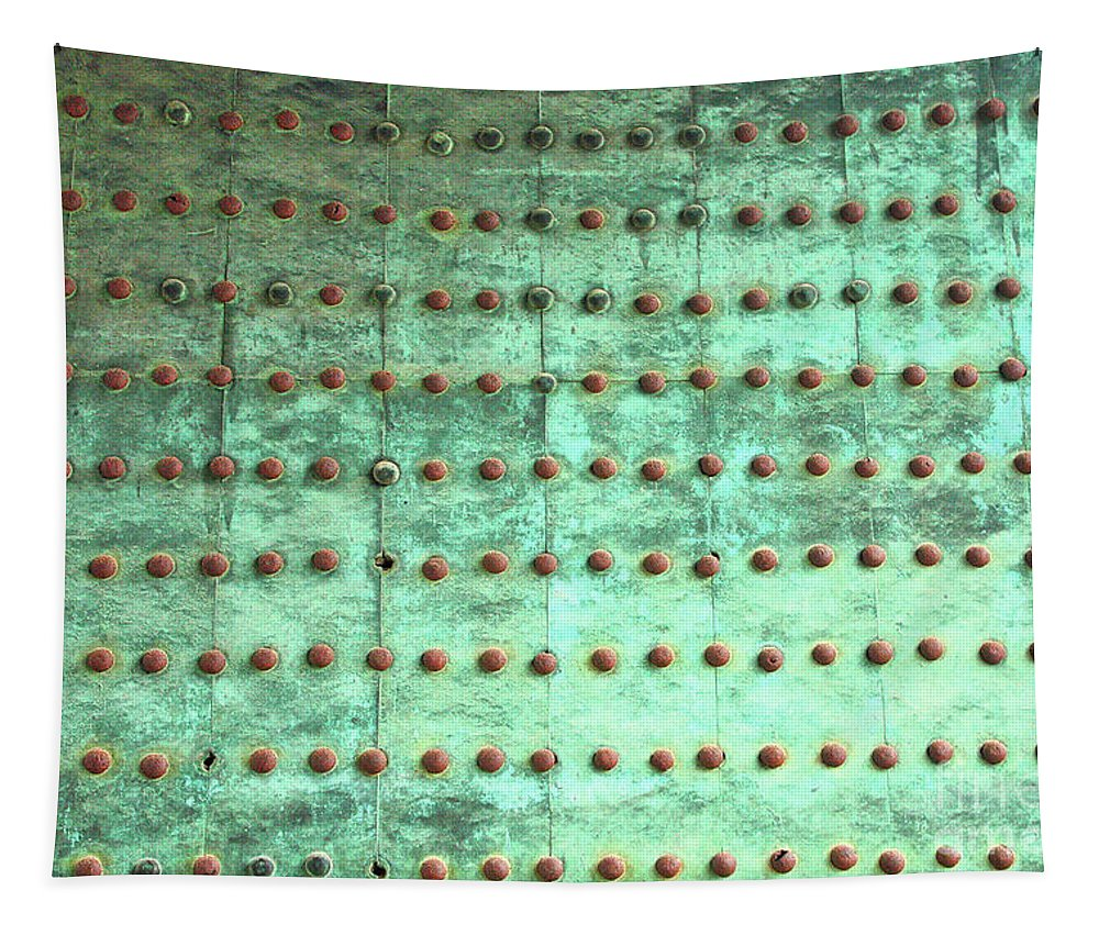 Weathered Tapestry featuring the photograph Weathered Metal Rivets With Green Patina by Carol Groenen