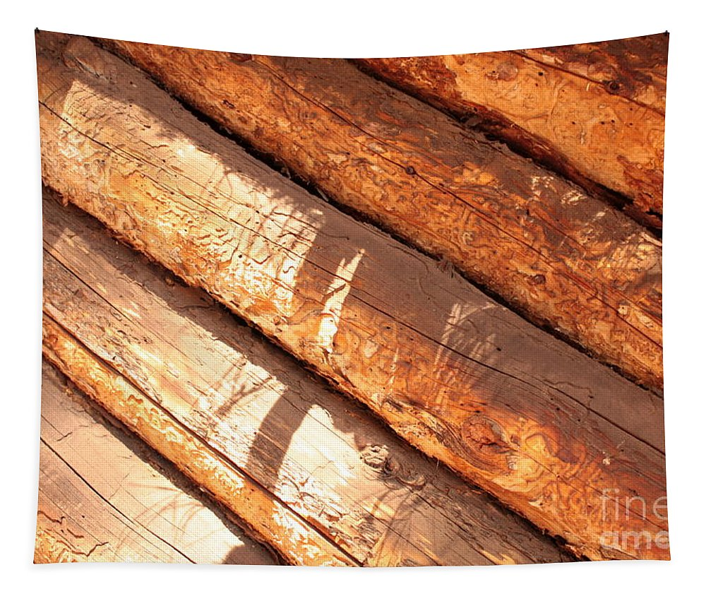 Wood Tapestry featuring the photograph Weathered Wood Log Cabin by Carol Groenen