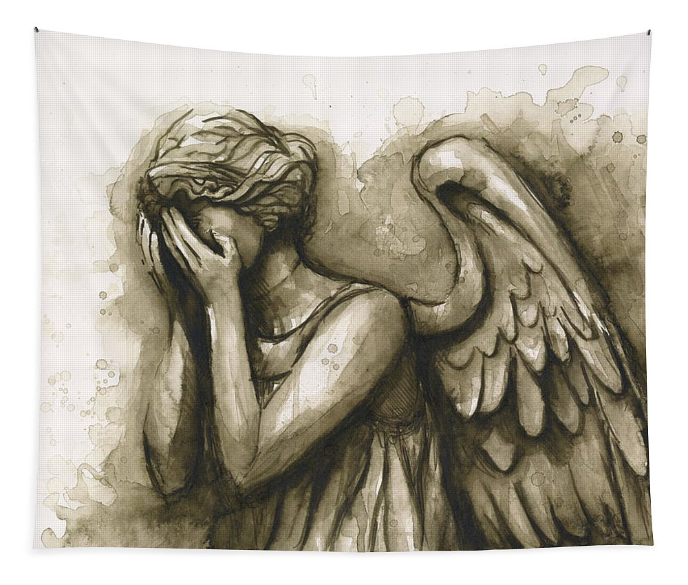 Angel Tapestry featuring the painting Weeping Angel by Olga Shvartsur