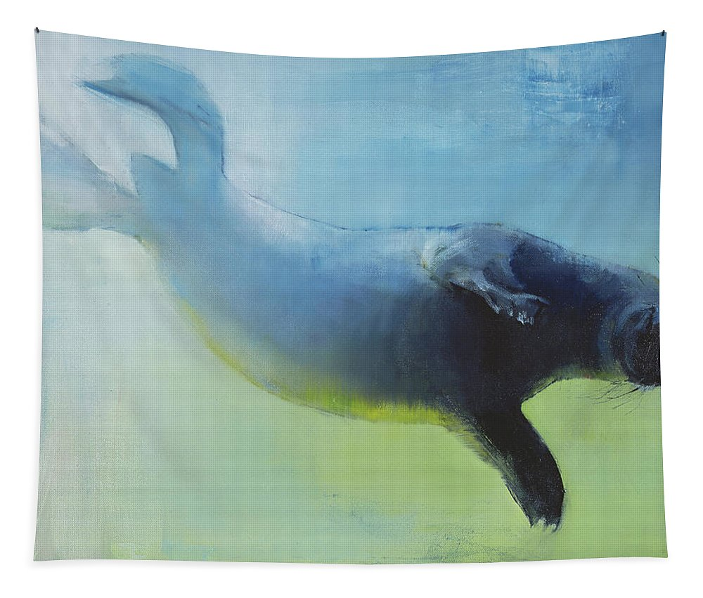 Seal Tapestry featuring the painting Weightless by Mark Adlington