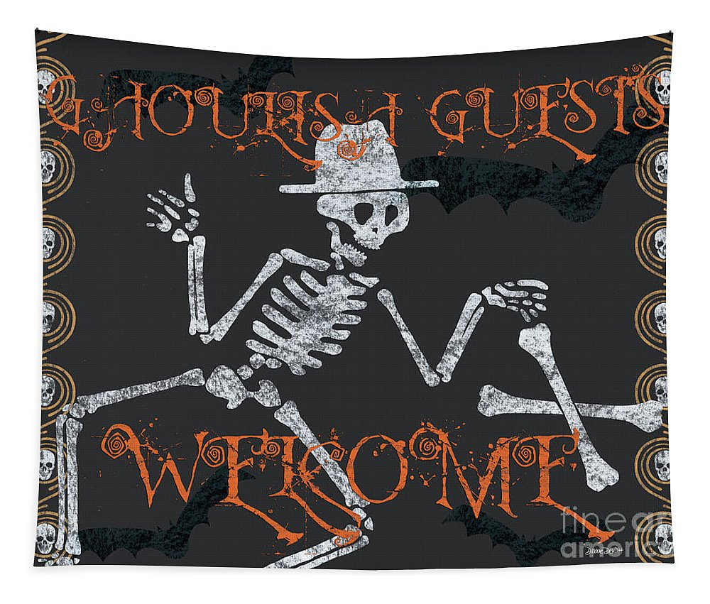 Halloween Tapestry featuring the painting Welcome Ghoulish Guests by Debbie DeWitt
