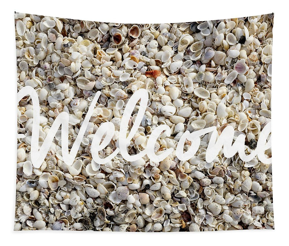 Florida Tapestry featuring the photograph Welcome Seashell Background by Edward Fielding
