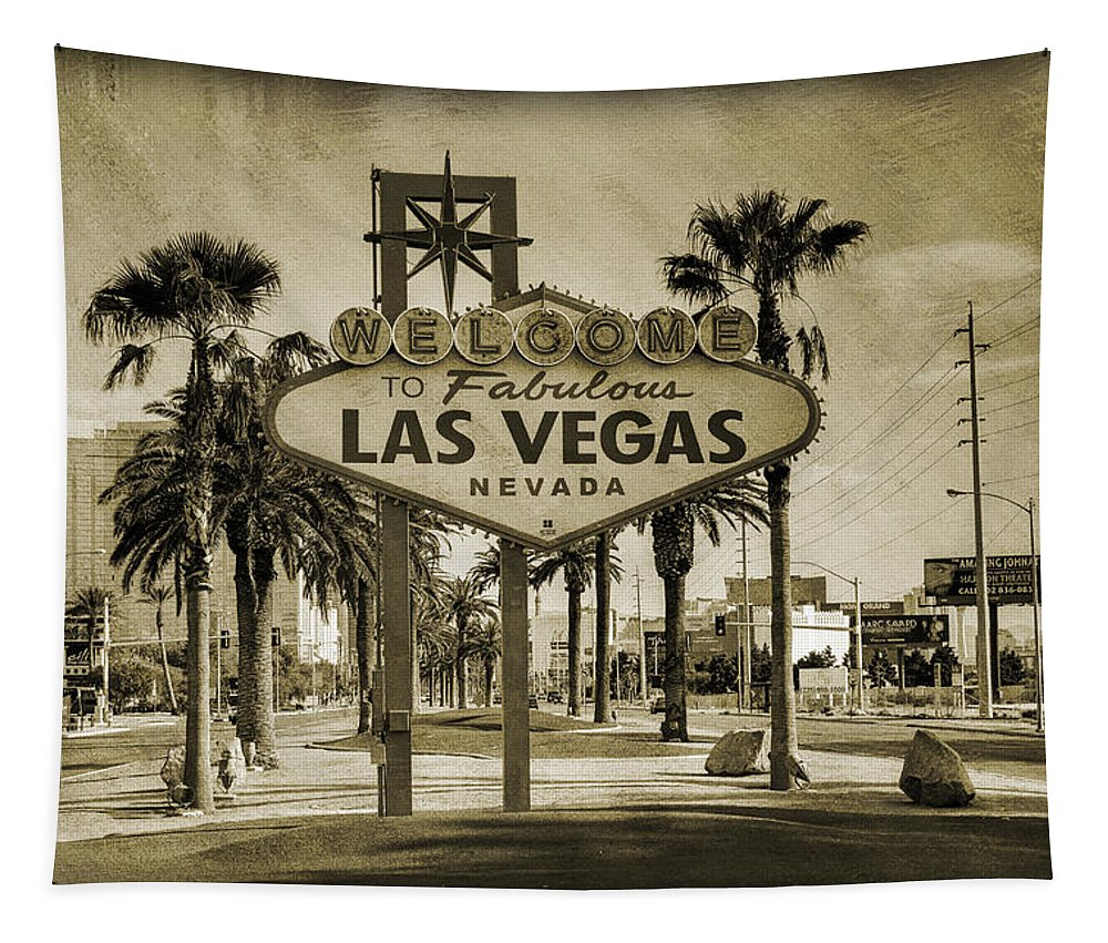 Las Tapestry featuring the photograph Welcome To Las Vegas Series Sepia Grunge by Ricky Barnard